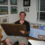 Steve at a caricature party with fellow artists